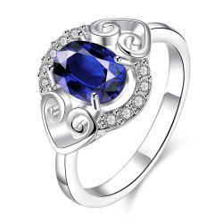 Petite Mock Sapphire Duo Hearts Laser Cut Ring Size 7 - Thumbnail 0