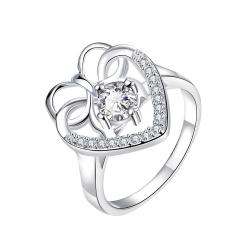 Curved Classic Crystal Stone Love Ring Size 8 - Thumbnail 0