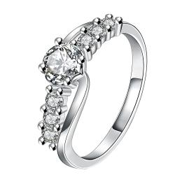 Center Crystal Jewels Lining Ring Size 8 - Thumbnail 0