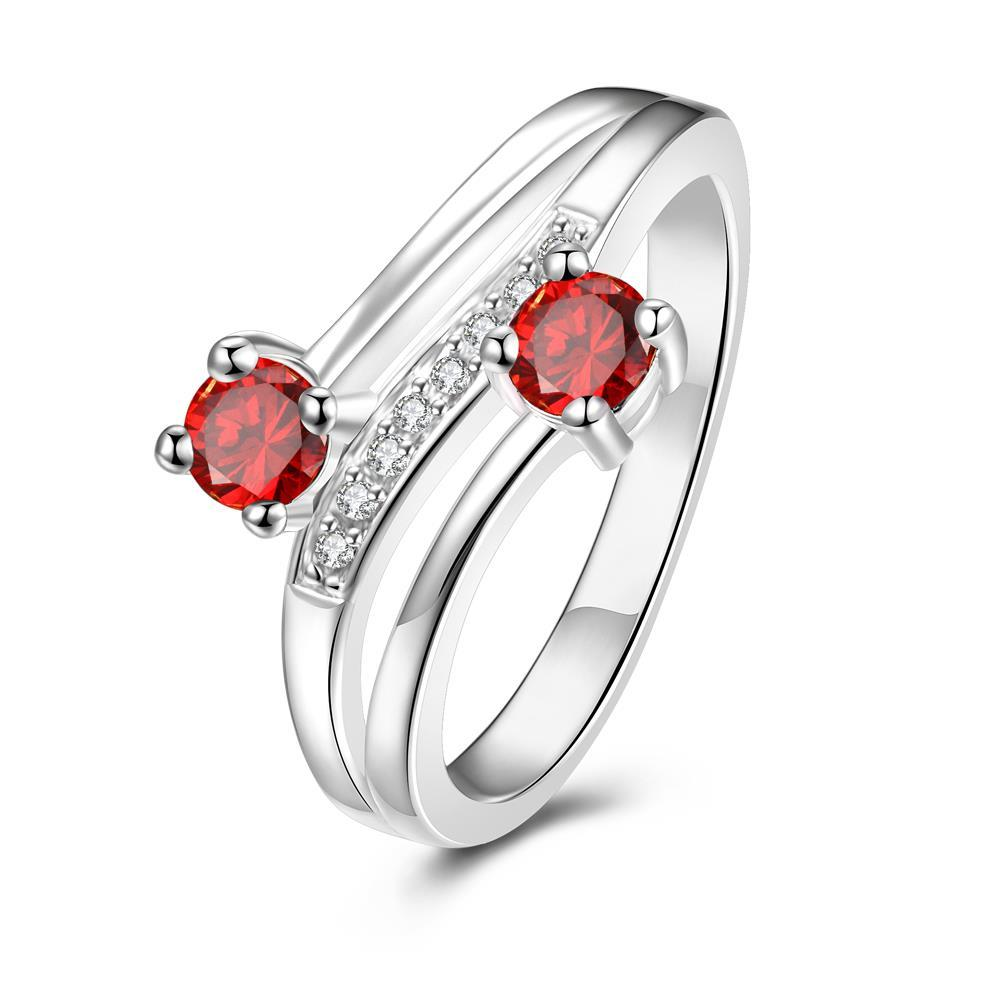 Duo-Petite Ruby Red Spiral Ring Size 7