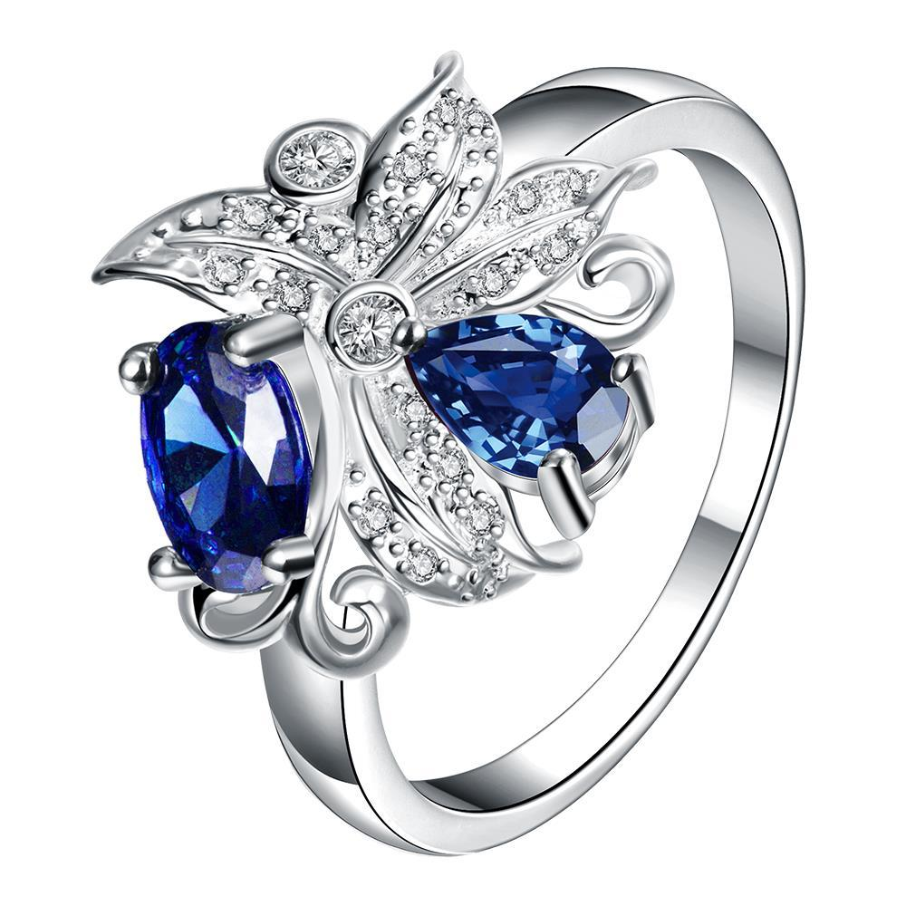 Petite Mock Sapphire Blossom Floral Modern Ring Size 7