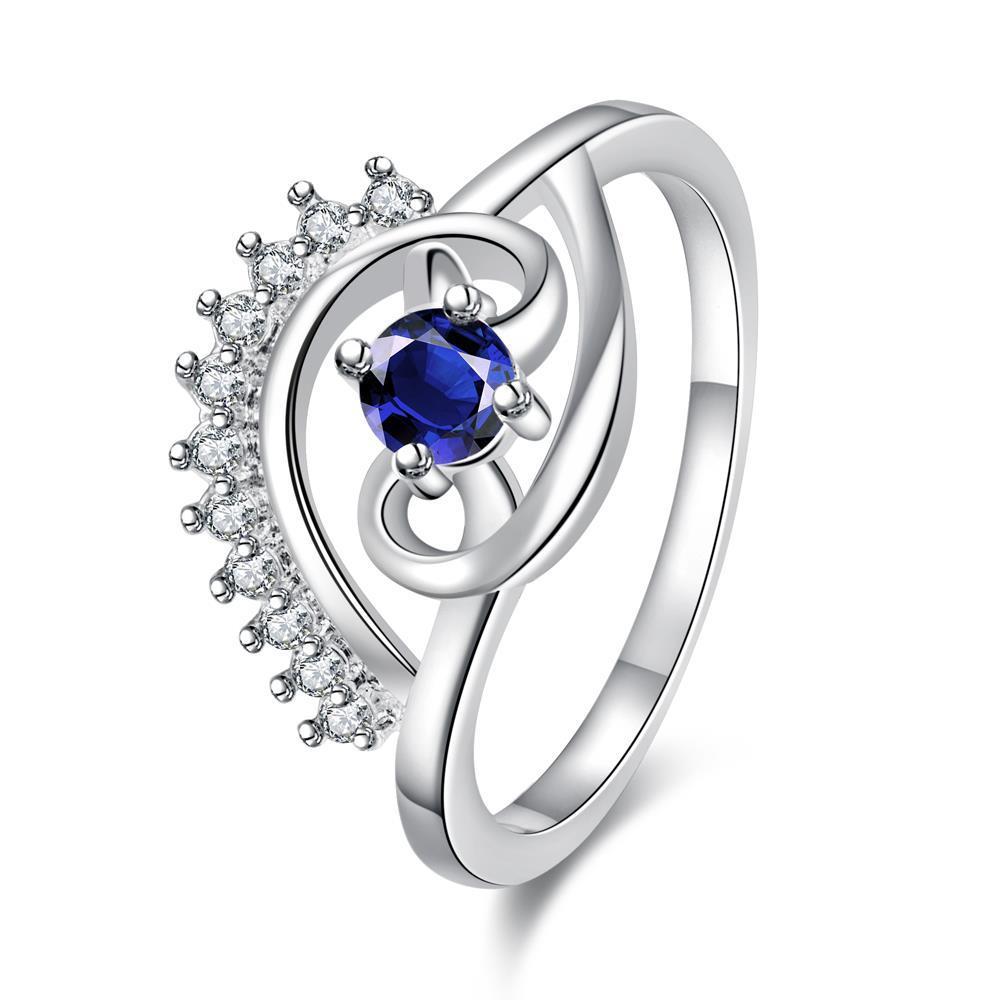 Petite Mock Sapphire Jewels Spiral Design Ring Size 8