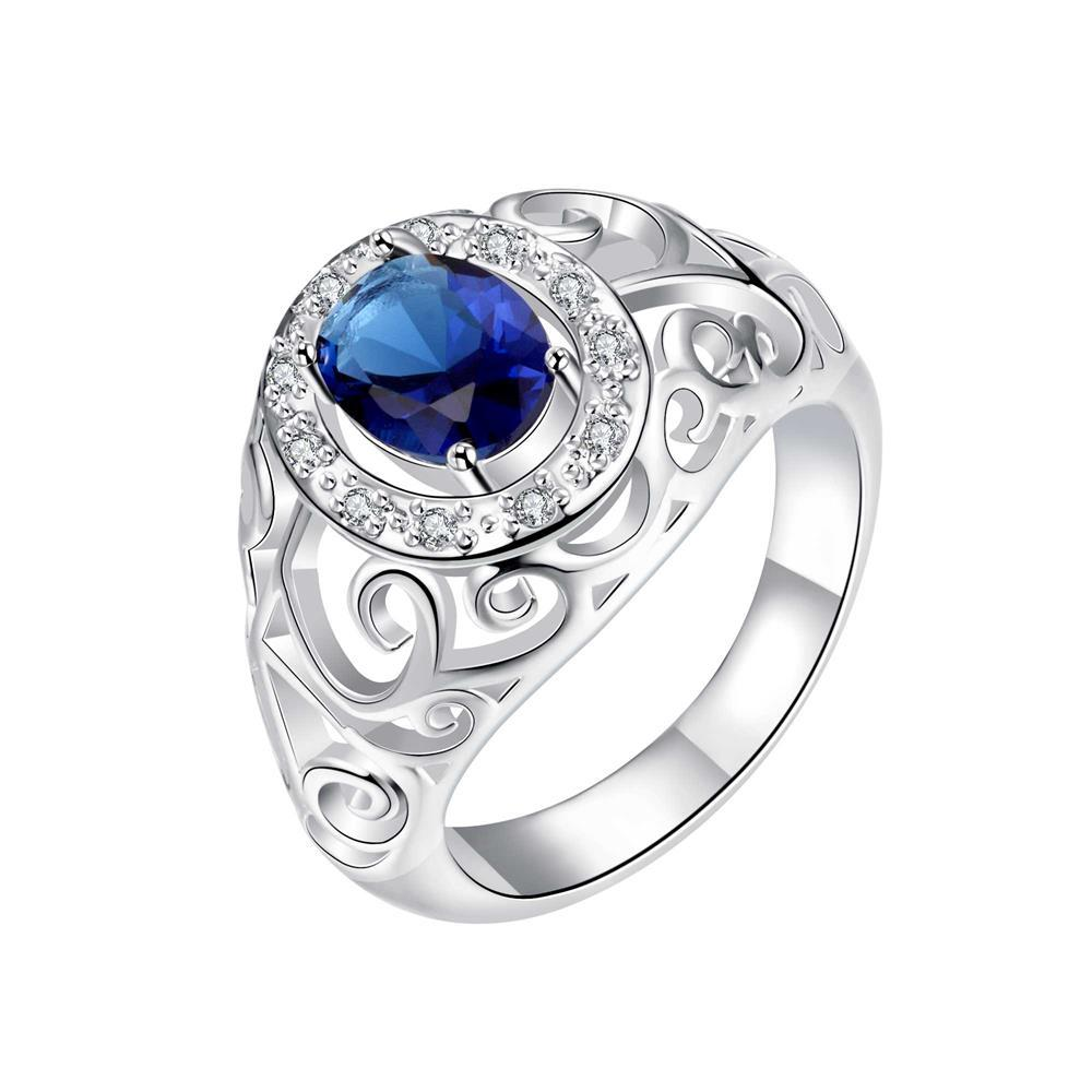 Royalty Inspired Mock Sapphire Modern Ring Size 8