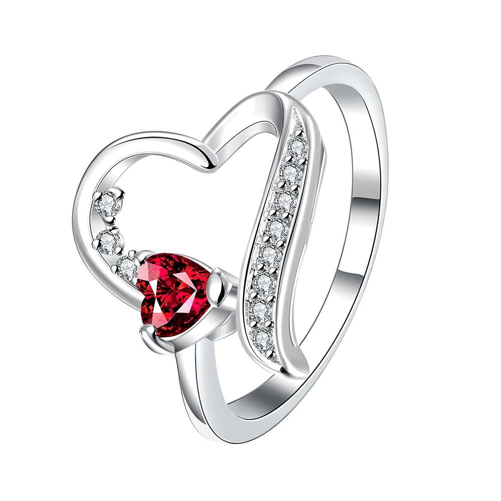 Vienna Jewelry Hollow Heart Ruby Crusted Petite Ring Size 8