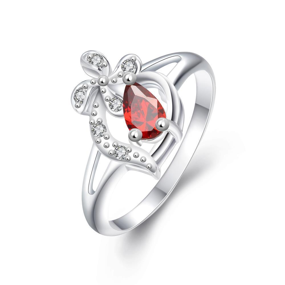 Diamond Shaped Ruby Clover Stud Classic Ring Size 7