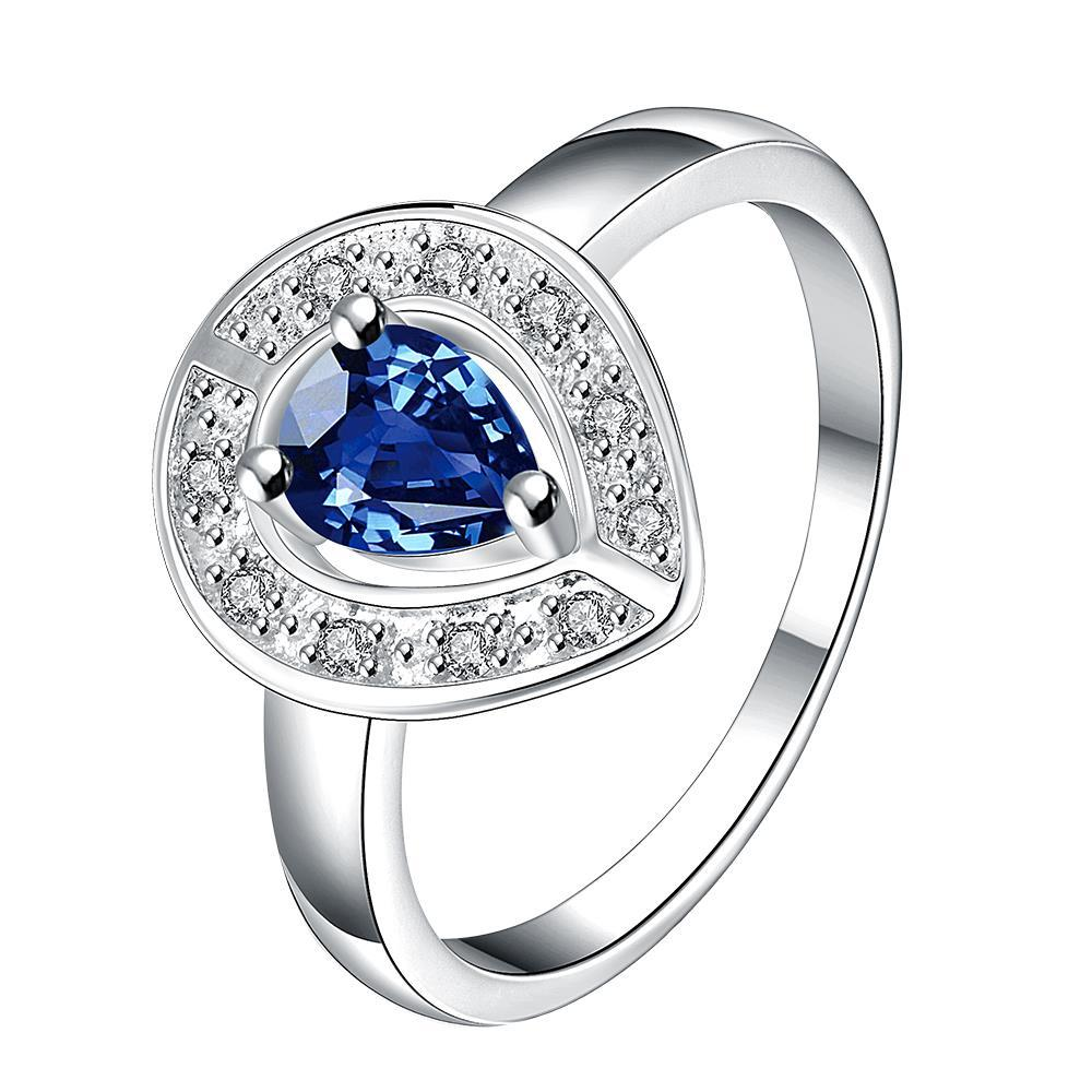 Mock Sapphire Curved Pendant Petite Ring Size 7