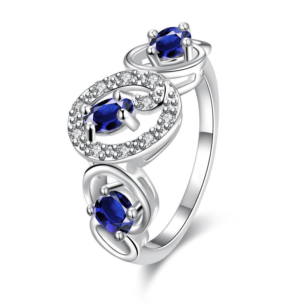 Trio-Mock Sapphire Circular Design Petite Ring Size 8