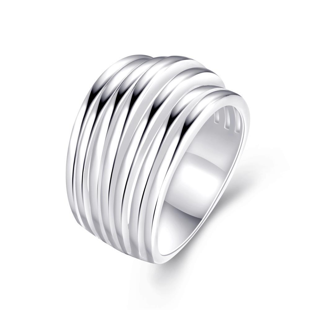 Vienna Jewelry Multi Swirl Design Silver Tone Ring Size 7 - Thumbnail 0