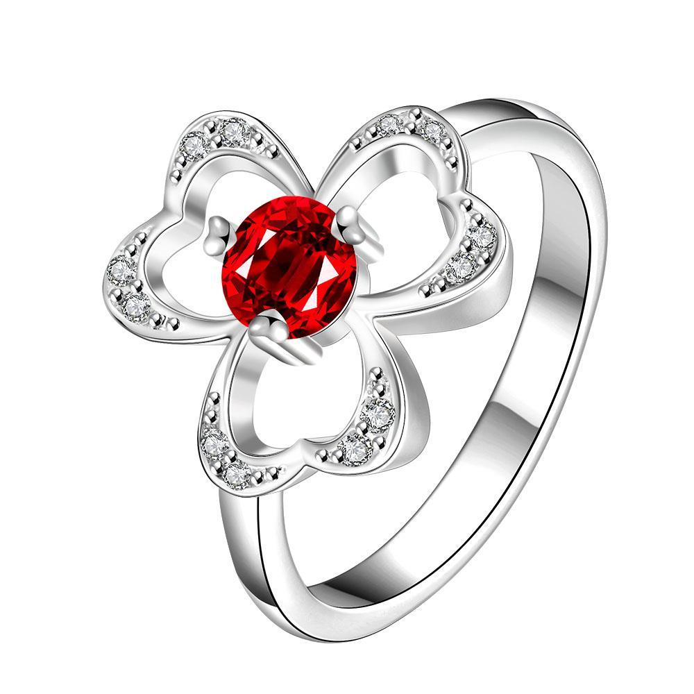 Vienna Jewelry Trio-Clover Stud Ruby Red Petite Ring Size 7 - Thumbnail 0