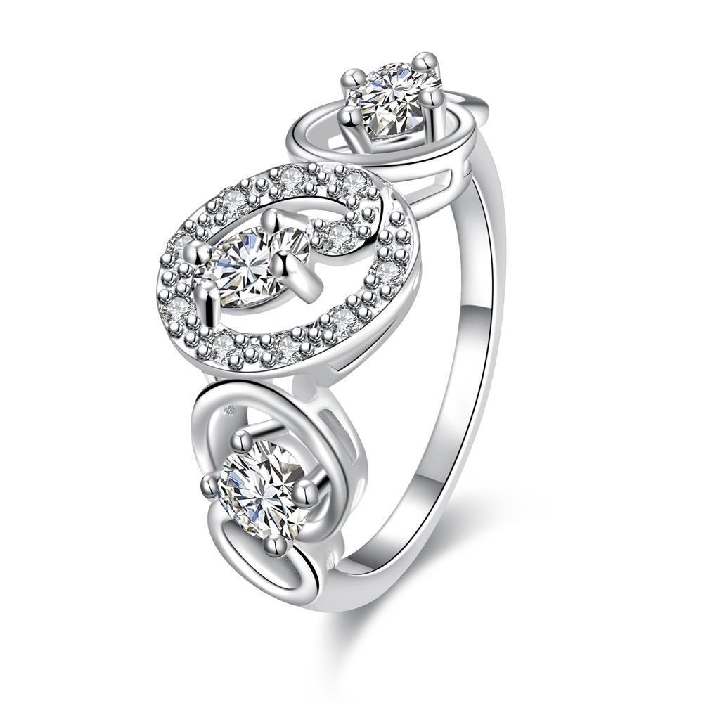 Trio White Topaz Circular Design Petite Ring Size 7