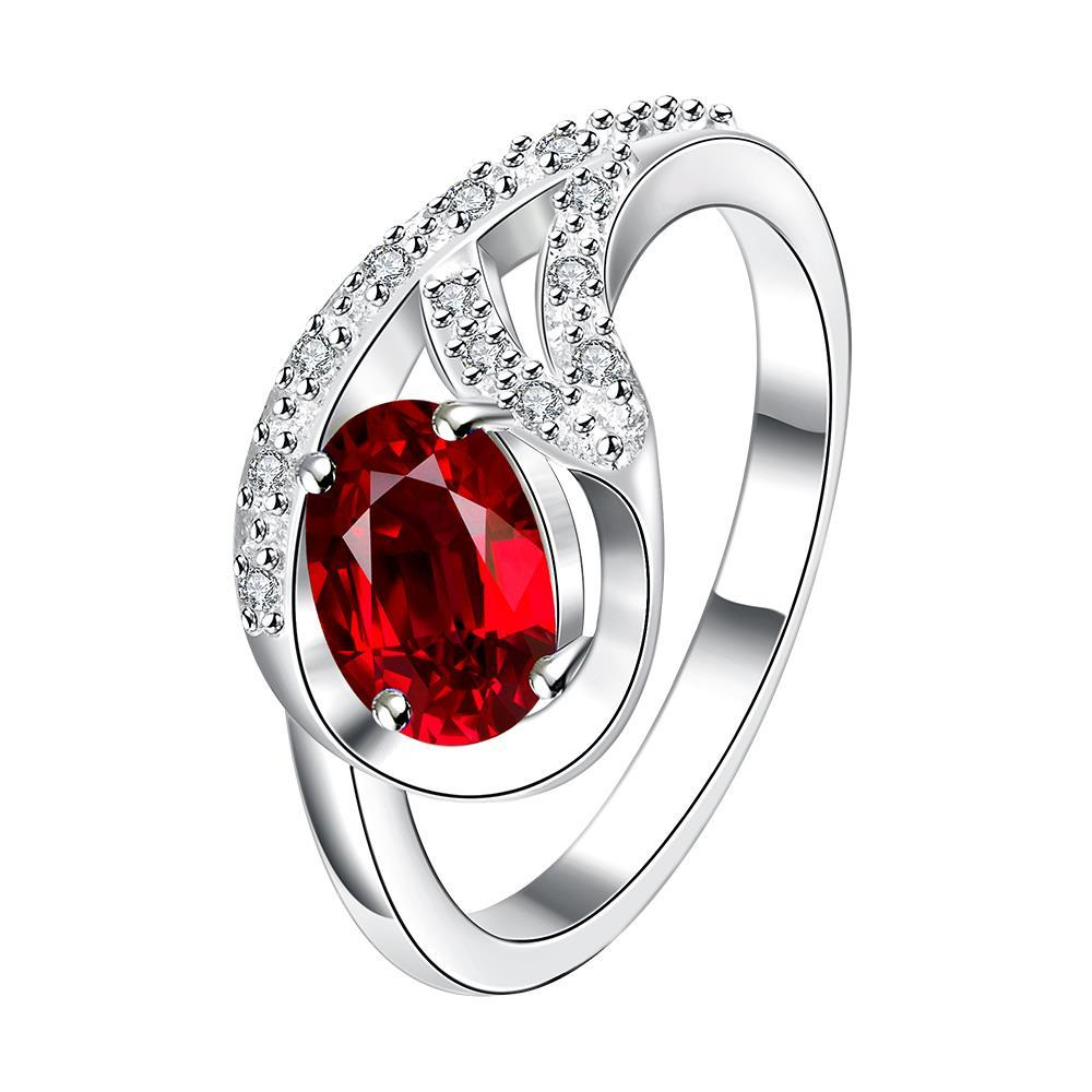 Vienna Jewelry Petite Ruby Red Spiral Pendant Ring Size 8