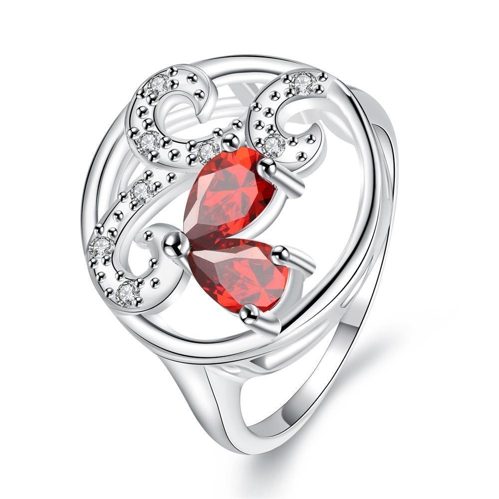 Ruby Red Trio-Curved Pendant Petite Ring Size 8