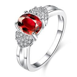 Petite Ruby Red Crystal Lined Ring Size 7 - Thumbnail 0