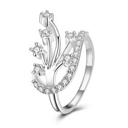 Modern Floral Orchid Spiral Ring Size 8 - Thumbnail 0
