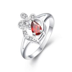 Diamond Shaped Ruby Clover Stud Classic Ring Size 7 - Thumbnail 0