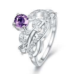 Petite Purple Citrine Swirl Abstract Design Petite Ring Size 7 - Thumbnail 0