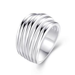 Multi Swirl Design Silver Tone Ring Size 7 - Thumbnail 0