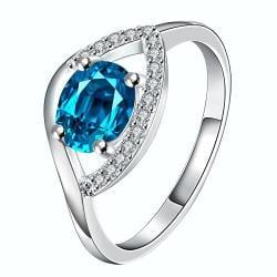 Petite Light Sapphire Open Clasp Petite Ring Size 8 - Thumbnail 0