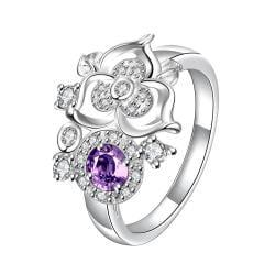 Mini Purple Citrine Clover Stud Shape Petite Ring Size 8 - Thumbnail 0