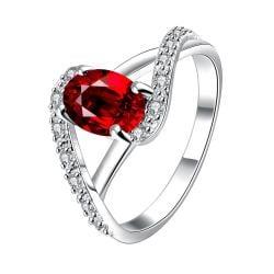 Petite Ruby Red Swirl Design Twist Ring Size 8 - Thumbnail 0