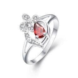 Diamond Shaped Ruby Clover Stud Classic Ring Size 8 - Thumbnail 0