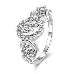Trio White Topaz Circular Design Petite Ring Size 7 - Thumbnail 0