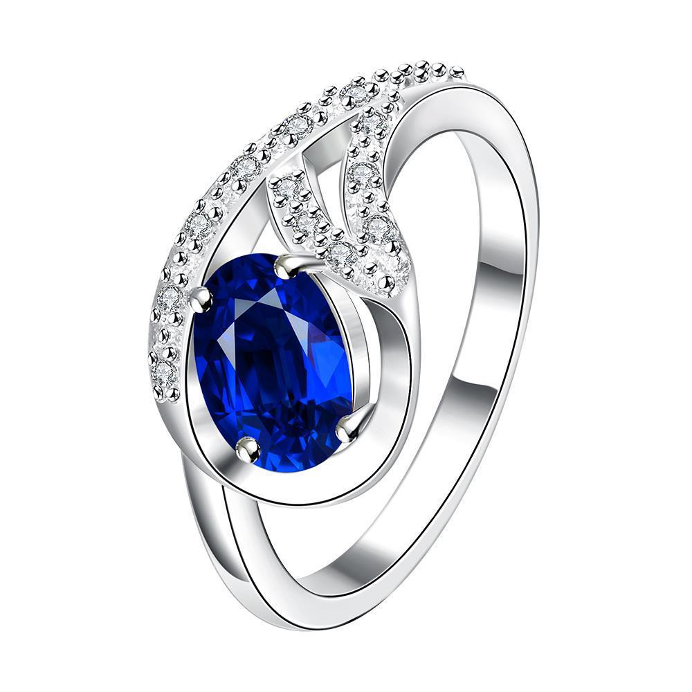 Petite Mock Sapphire Spiral Pendant Ring Size 7