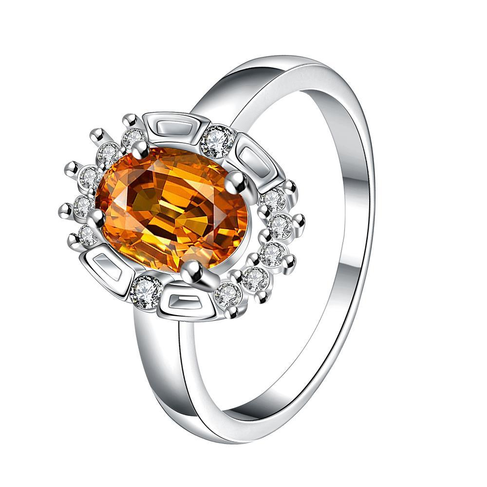 Yellow Citrine Gem Circular Jewels Ring Size 7