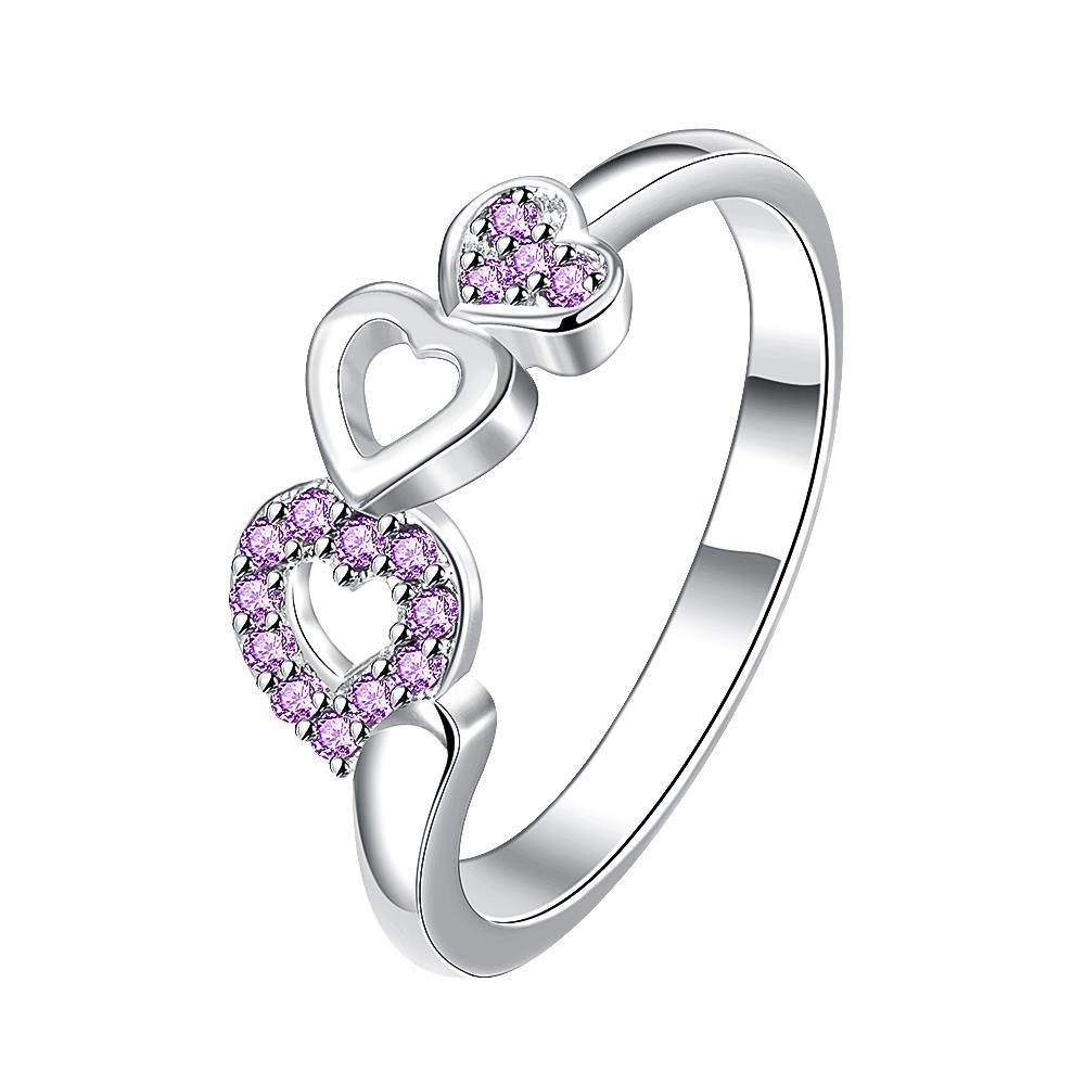 Trio-Heart Drop Down Purple Jewels Petite Ring Size 7