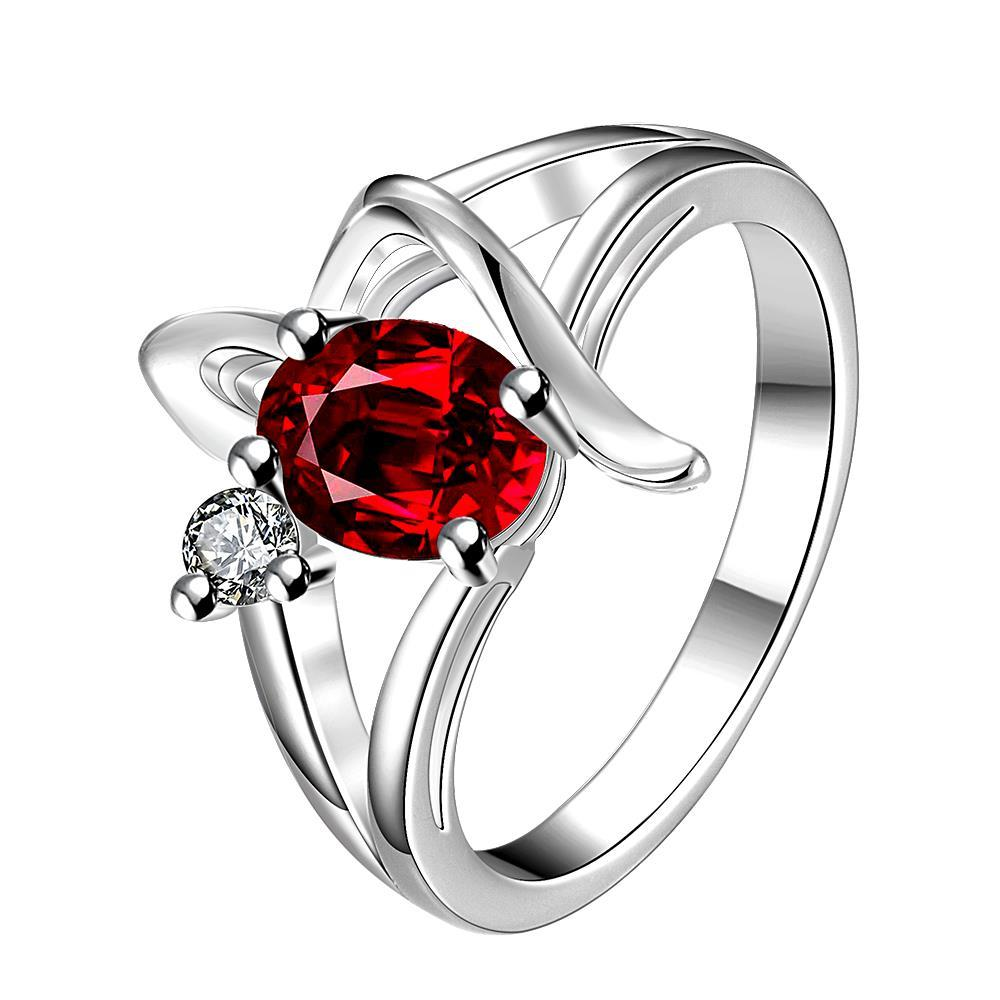 Vienna Jewelry Ruby Red Spiral Design Petite Ring Size 7