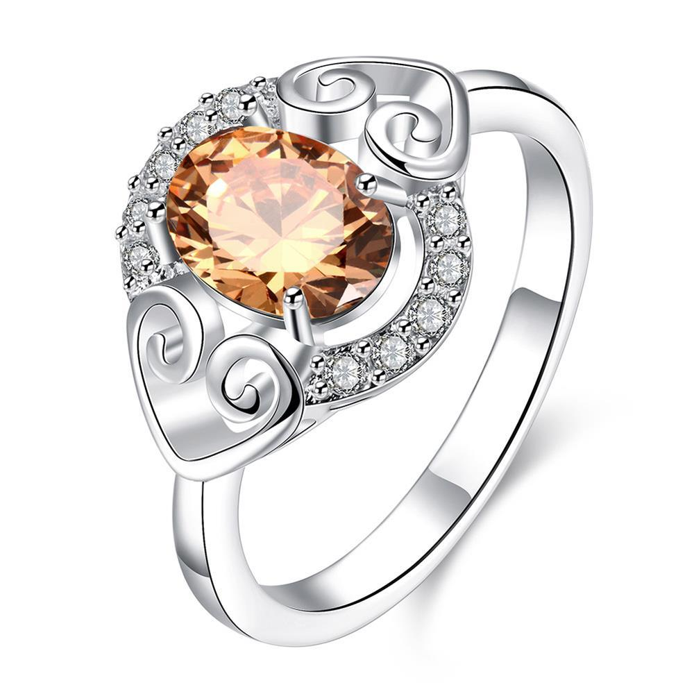Vienna Jewelry Petite Orange Citrine Duo Hearts Laser Cut Ring Size 8