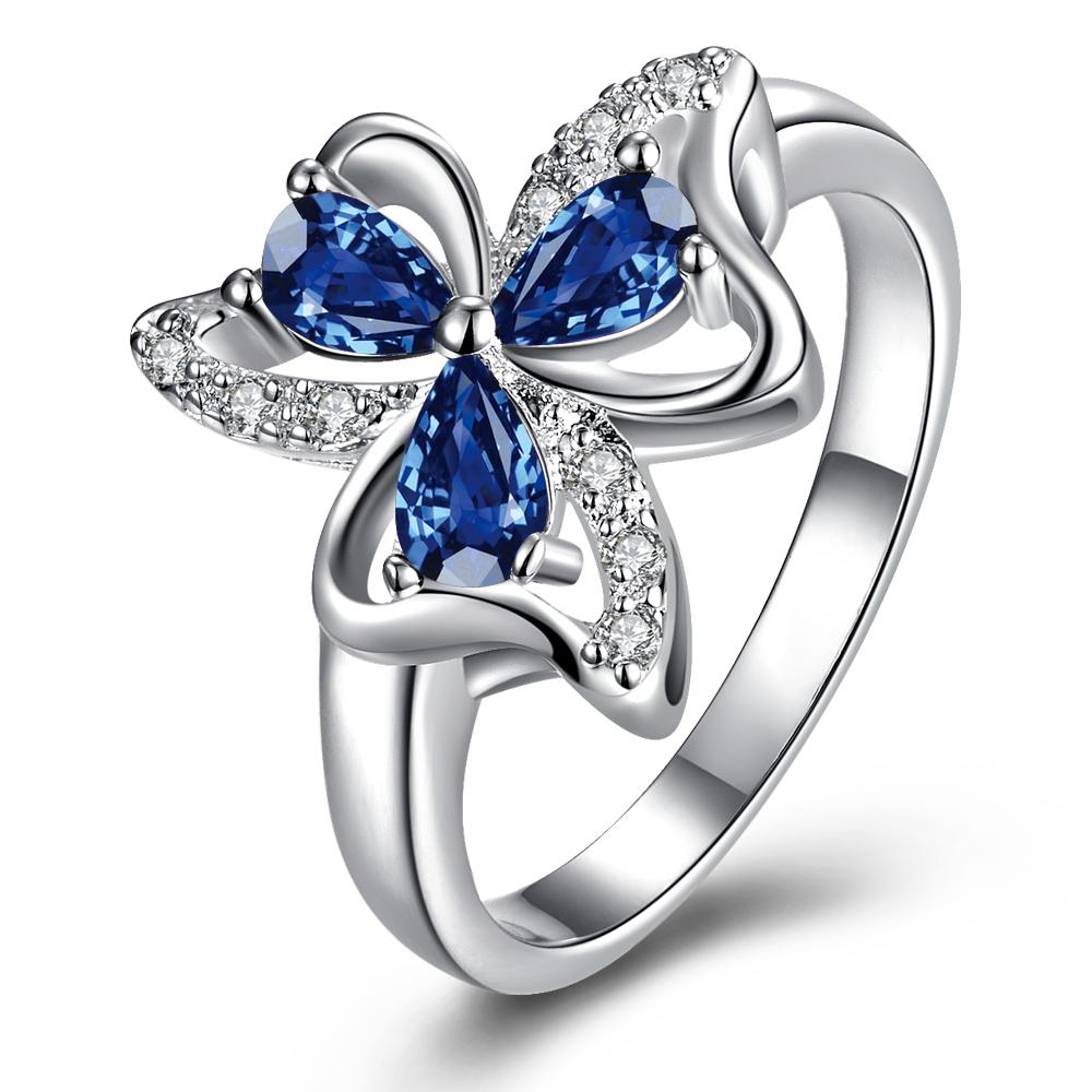Trio-Mock Sapphire Clover Petals Classic Ring Size 7