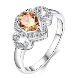 Orange Citrine Trio-Jewels Classical Modern Ring Size 8 - Thumbnail 0