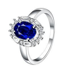 Mock Sapphire Gem Circular Jewels Ring Size 7 - Thumbnail 0