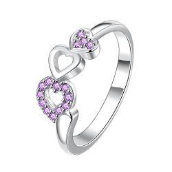 Trio-Heart Drop Down Purple Jewels Petite Ring Size 8 - Thumbnail 0