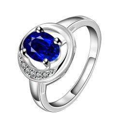 Mock Sapphire Spiral Design Petite Ring Size 8 - Thumbnail 0