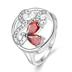 Ruby Red Trio-Curved Pendant Petite Ring Size 8 - Thumbnail 0