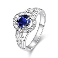 Petite Mock Sapphire Circular Emblem Ring Size 7 - Thumbnail 0