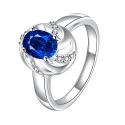 Mock Sapphire Spiral Laser Cut Petite Ring Size 8 - Thumbnail 0