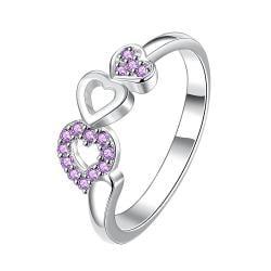 Trio-Heart Drop Down Purple Jewels Petite Ring Size 7 - Thumbnail 0