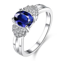 Petite Mock Sapphire Crystal Lined Ring Size 7 - Thumbnail 0