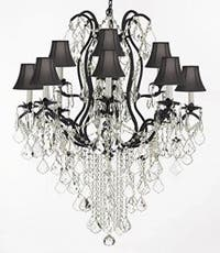 Wrought Iron Empress Crystal Chandelier Lighting H40 x W28 With Black Shades
