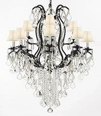 Wrought Iron Empress Crystal Chandelier Lighting H40 x W28 With White Shades