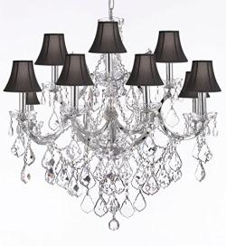 Maria Theresa Crystal Chandelier Lighting H30 x W28 Chrome Finish With Black Shades
