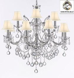 Maria Theresa Empress Crystal Chandelier Lighting With White Shades