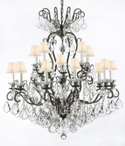 Wrought Iron Empress Crystal Chandelier Lighting With White Shades