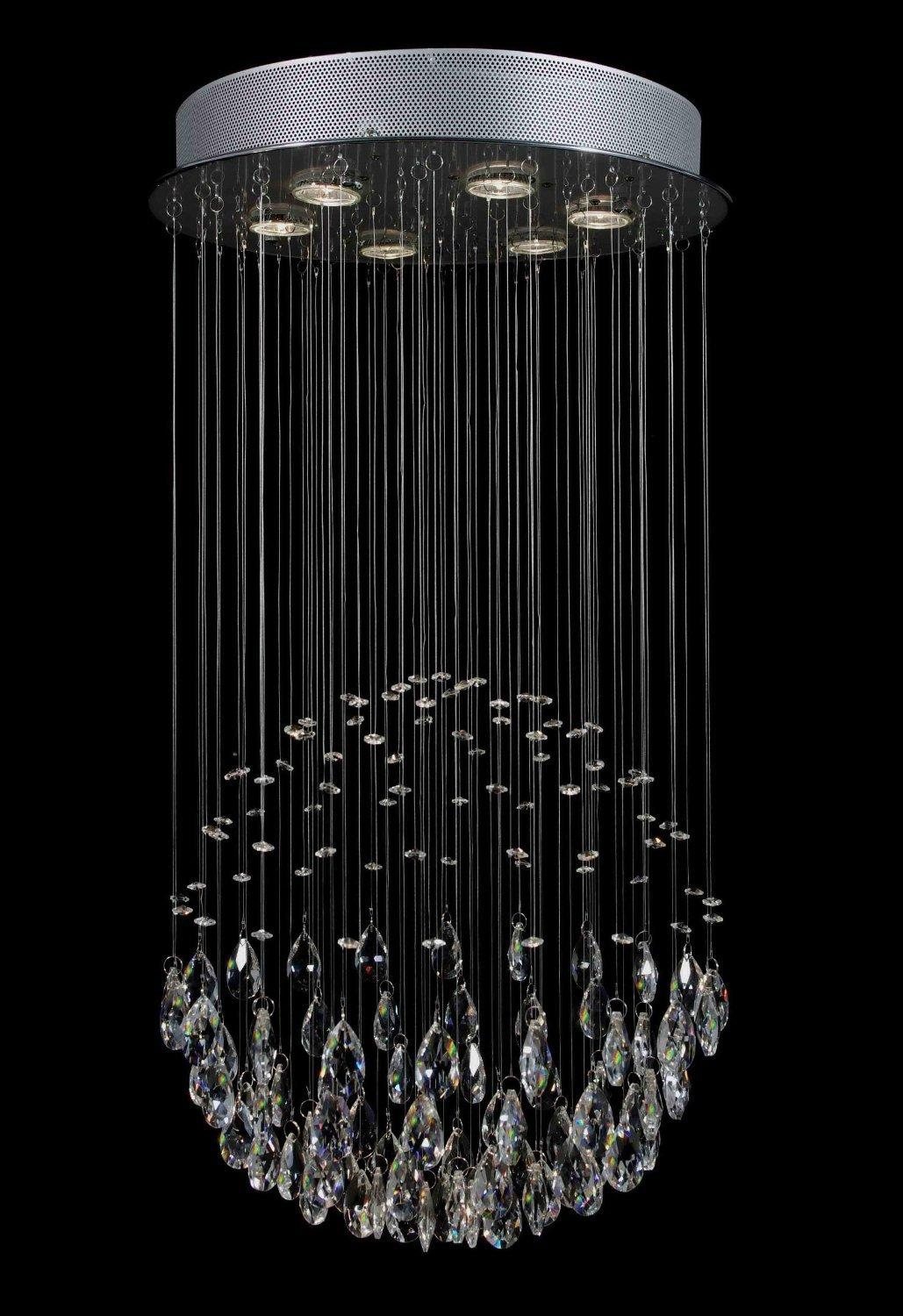Modern *Rain Drop* Crystal Chandelier Lighting H32 x W18 Comes With Adjustable Hanging Kit Great for Vaulted Ceilings