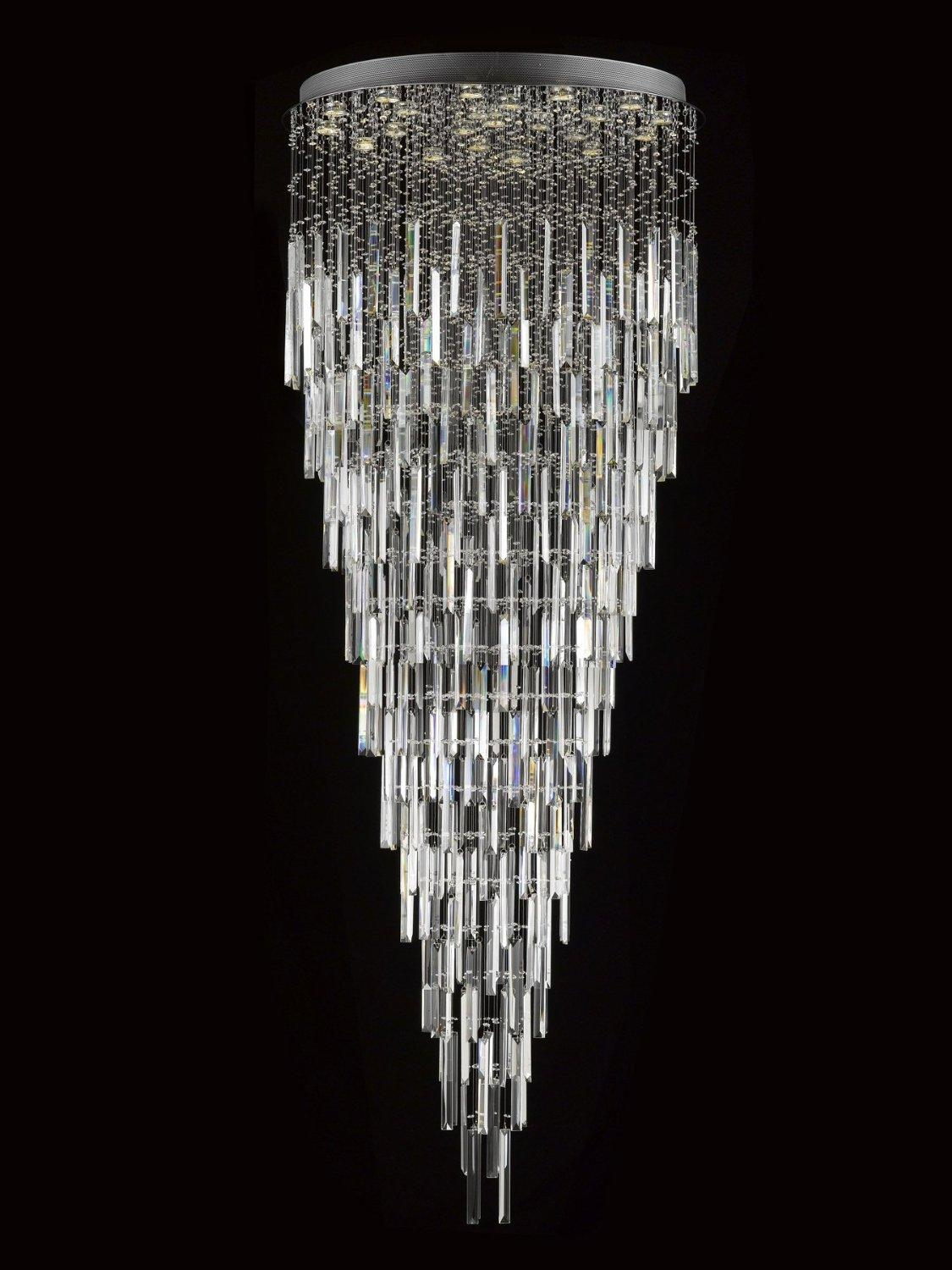 Modern Contemporary Rain Drop Chandelier Lighting With Faceted Crystal