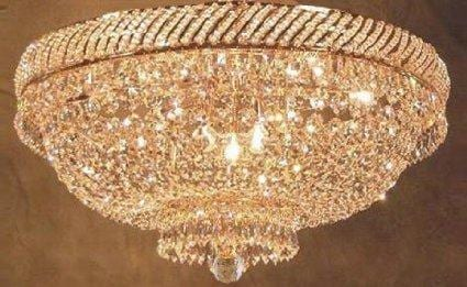 French Empire Crystal Flush Chandelier Lighting H18 x W23