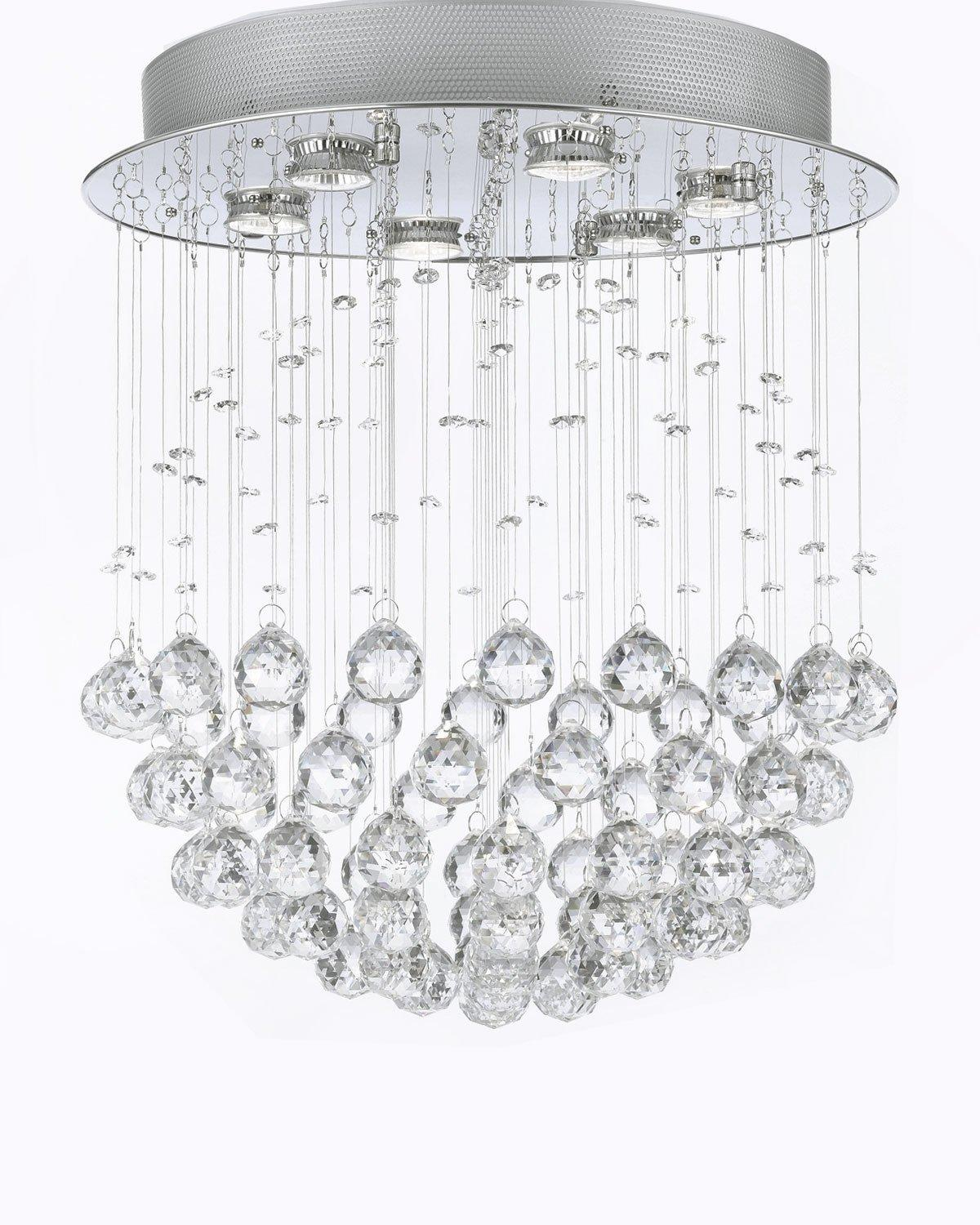 Modern Contemporary *Rain Drop* Chandelier Lighting With Faceted Crystal Balls